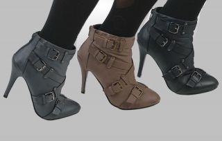 SEXY Stiefeletten High Heels Grau/Schwarz/Braun *38 41*