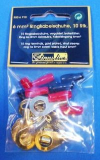 Gold Ring Kabelschuh 10 Stück 6mm² 24 Karat SINUSLIVE  Set 6