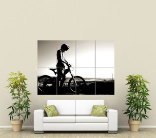 MOUNTAIN BIKE SILHOUETTE BMX DOWNHILL GIANT ART POSTER PRINT PICTURE