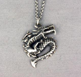 Drache Dragon Fantasy Fabelwesen 925 Silber Silver Anhänger inkl