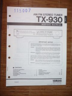 Service Manual Yamaha TX 930 Tuner ,ORIGINAL