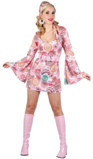 Retro Hippy Dress Ladies 1960s 1970s Ladies Fancy Dress Costume Outfit
