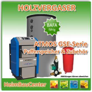 ATMOS   Holzvergaser Set DC 40 GSE + 3x 1000 Liter Puffersp.