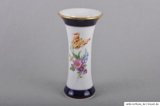 Meissen Blumen Bukett kobalt & gold, hohe Vase, 25 cm, 1.Wahl