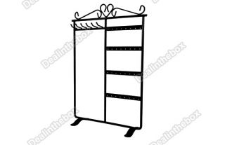 32 Holes Earring Jewelry Display Rack Stand Black Decorated with Top