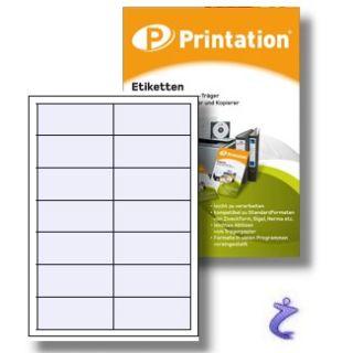 Weiße Universal Etiketten selbstklebend   100 Blatt   Format frei