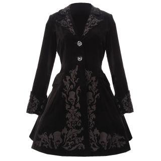 Damen Mantel Spin Doctor Hell Bunny Schwarz Samt Viktorianisch Gothic