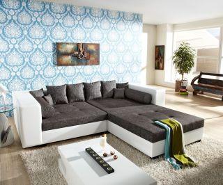 Big Sofa Stella 300x140cm Weiss Grau XXL Couch mit Hocker und Kissen