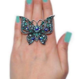 Neu XXL Schmetterlings Ring Butterfly Strass dehnbar Tier