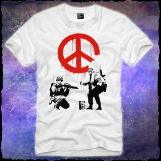PEACE anti Gewalt Krieg War Frieden T SHIRT bansky graffiti fun (S) (M