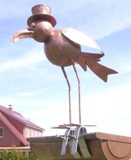 Vogel aus Metall Dachschmuck für die Dachrinne 42cm CU