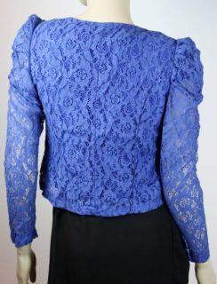 Spitze Bolero Langarm Jäckchen Schulterjäckchen Abendkleid Blau 36