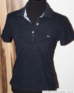 Tommy Hilfiger Polo Shirt Damen Gr. S 36 Dunkelblau Marine Poloshirt