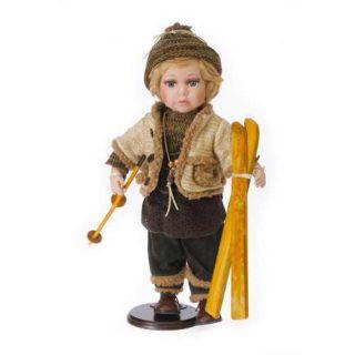9138 PORZELLANPUPPE Sammlerpuppe Puppe Junge mit Ski Winter Porzellan