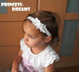 Princess Dreams Baby Maedchen Reborn Haarband Stirnband weiss Blume