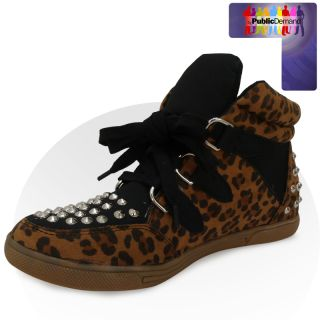 ByPublicDemand   V1X NEW WOMENs LADIEs TRENDY sTUDDED LACE UP TRAINER