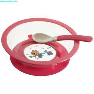 PLAYSHOES Esslernteller Teller Babyteller m. Löffel Saugfuß rosa