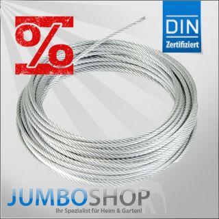 VERZINKTES DRAHTSEIL Stahlseil Seil Draht nach DIN Windenseil   TOP
