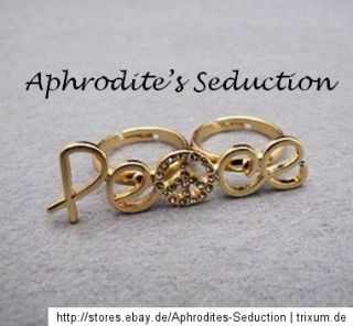 Doppelring Zweifingerring Ring Farbe Gold Strass Peace