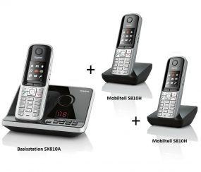 Siemens Gigaset SX810A + 2x S810H Trio ISDN AB schnurlos Telefon