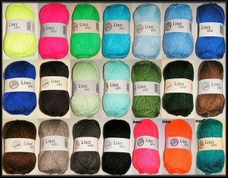 LISA UNI 18 Farben Hand Strickgarn Acryl Garn Wolle zum Stricken