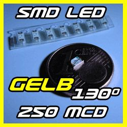 10 SMD LED Gelb Yellow 250mcd 0603 0805 1206 LEDs 130°