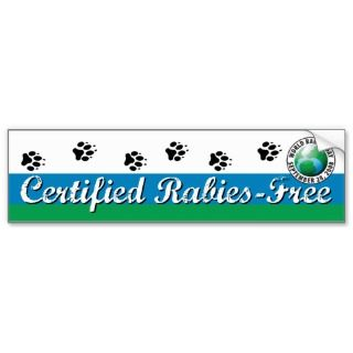 Certified Rabies Free Kennel or Bumper Sticker
