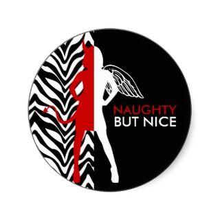 Zebra Print Naughty But Nice Stickers