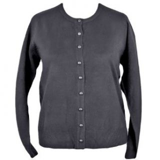 Black Plus Size Crew Neck Long Sleeve Cardigan Sweater