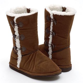 Little Girls Shoes Brown Fur Suede Mid Calf Boots 8 4 IM Link Shoes