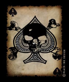 Black Death Card Black Ink Design T Shirt 80300 Size XL