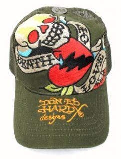 New Ed Hardy Death or Love Green Unisex Tattoo Trucker Hat