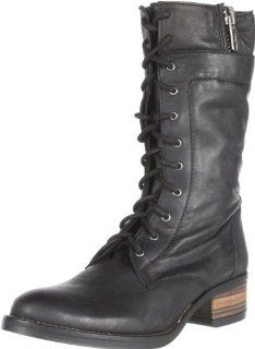 Steve Madden Womens Batell Flat Boot,Black Leather,7.5 M US Shoes