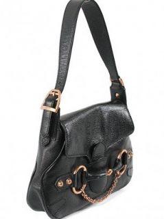 Gucci Handbag   Black Leather Horsebit Flap Hobo Satchel