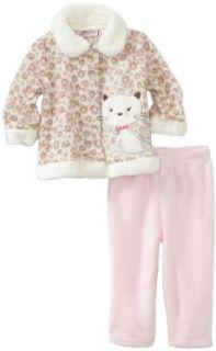 Infant 2 Piece Cheetah Print Kitty Pant Set, Pink, 12 Months Clothing