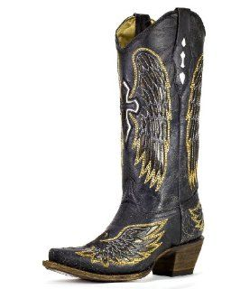 Womens Distressed Black Winged Cross Golden Inlay Boot   A1967 Shoes
