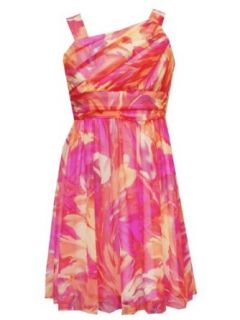 Rare Editions Girls 7 16 Ruched Bodice Floral Print Dress