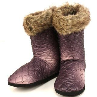 Fur Quilt Indoor Boots Slippers Dark & Light Purple Small 5 6 Shoes