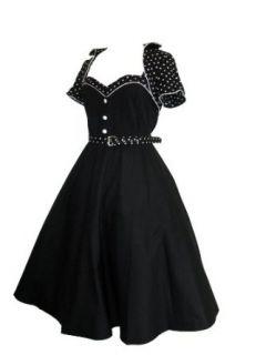 Skelapparel Plus 60s Retro Black Flare Dress with Polka