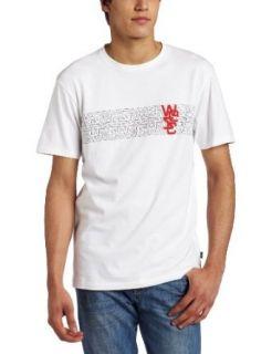 Wesc Mens Overlay Stripe T Shirt,White,Large Clothing