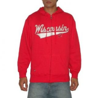 NCAA Wisconsin Badgers Mens Athletic Warm Zip Up Hoodie