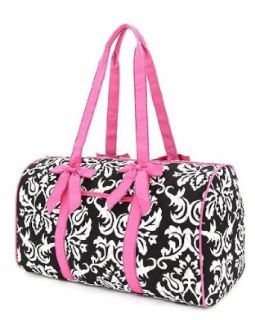 Cotton Quilted Damask Large Duffle Bag (Black & Fuschia