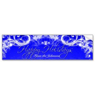 Scroll in Sapphire Blue Wine Label Bumper Stickers