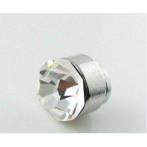 White Men Magnet Earrings stud CZ stone silver Jewelry
