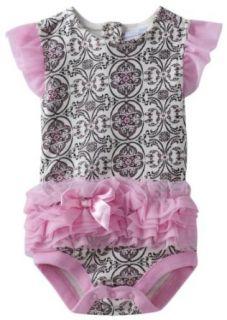Girls Infant Scroll Print Tutu Bodysuit, Pink, 18 Months Clothing