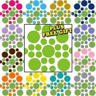 Lime Green / Nut Brown Circles Polka Dots Vinyl Wall