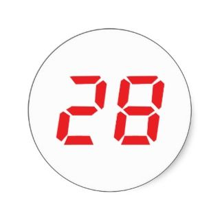 28 twenty eight red alarm clock digital number sticker
