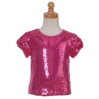 Lipstik Designer Fuchsia Sequin Little Girls Shirt 4
