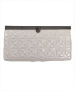 BG Flower Quilt Pattern Faux Leather Purse Clutch , White
