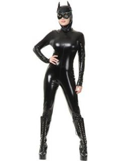 Womens XL 14 16 Sexy Wet Look PVC Black Cat Suit Vinyl